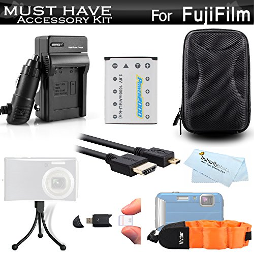 Must Have Accessory Kit For Fuji Fujifilm FinePix XP80, XP90, XP120, XP130 Waterproof Digital Camera Includes Extended Replacement NP-45A, NP-45s Battery + Ac/Dc Charger + Micro HDMI Cable + Case ++