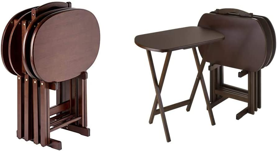 Winsome Nathan 5-PC Set Cappuccino Snack Table & Wood TV Tray Set