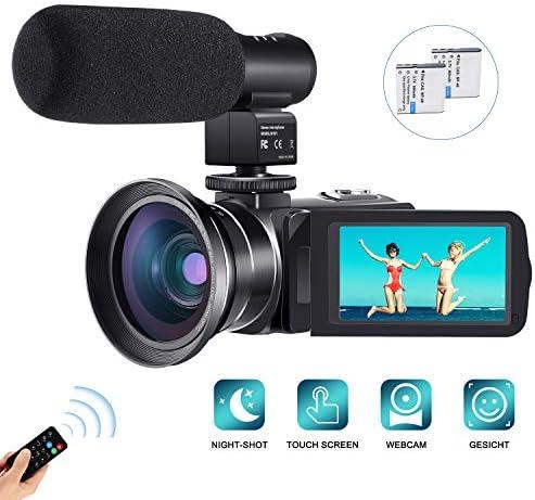 Camcorder Videokamera,Cofunkool Vlogging Camera 1080P FHD 24.0MP für YouTube Kamera,IR Nachtsicht 16X Digital Zoom mit 0.39X Weitwinkelobjektiv(mit Makroobjektiv),Mikrofon,Fernbedienung,2 Batterien