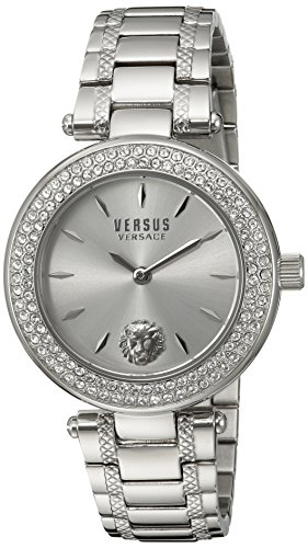 Versus by Versace Women's 'BRICK LANE CRYSTAL' Quartz Stainless Steel Casual Watch, Color:Silver-Toned (Model: S71080016)