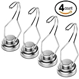 4 Pack Heavy Duty Magnetic Hooks 30lb Powerful Neodymium Refrigerator Magnet Hooks by Mecooa - Adjustable Swivel Utensils Hooks, Great for Home Kitchen Organization and Storage.
