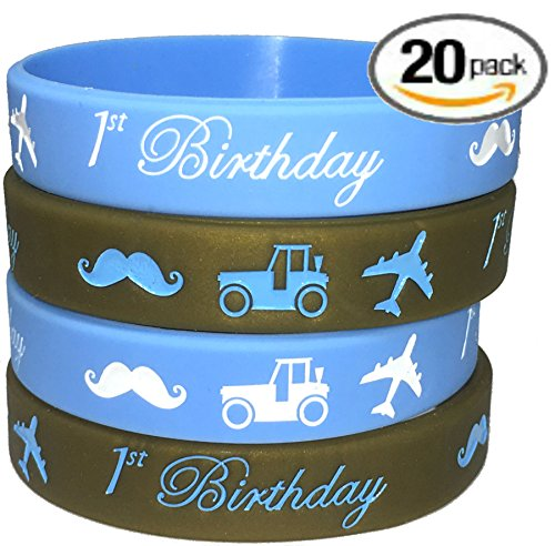 20 pc (K) 1st Birthday Boy Party Favors Wristband/Size Adult and Kids. (1stBirthdayBoy, Kids)
