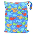 Wet Dry Bag Baby Cloth Diaper Nappy Bag Reusable with Two Zippered Pockets (Whale)