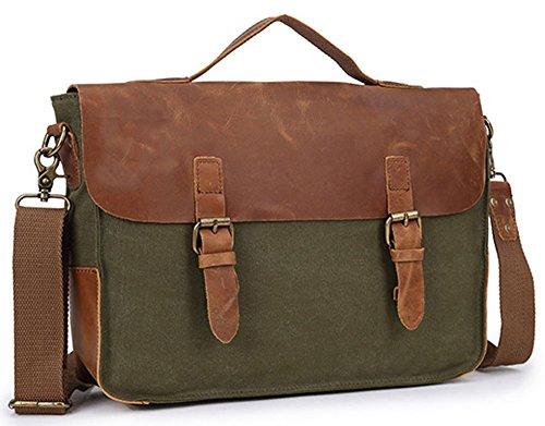 Izacu Flocc-BUG Lona bolso mensajero bolsa para hombre bolso de escuela (36*10*26cm, green) green