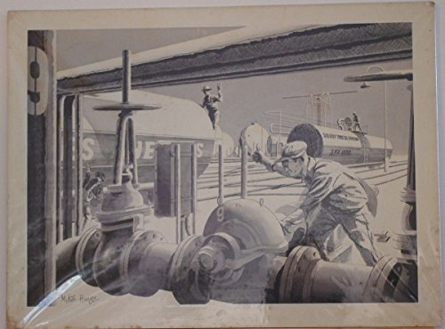MIKE HINGE original art, Signed, Solvoy OIL and TRAIN,pre-1970,15x20,Smithsonian