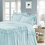 HIG 3 Piece Ruffle Skirt Bedspread Set King-Aqua