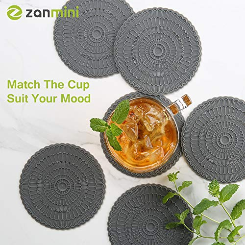 Large Product Image of Silicone Gray Coasters for Drinks,Tabletop Protection and Prevents Furniture Damage and,4 Inch By zanmini (gray)