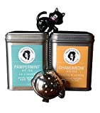 Crazy Cat Lady Organic Chamomile and Peppermint Tea Gift Set with Kitten Infuser (infuser colors may vary)