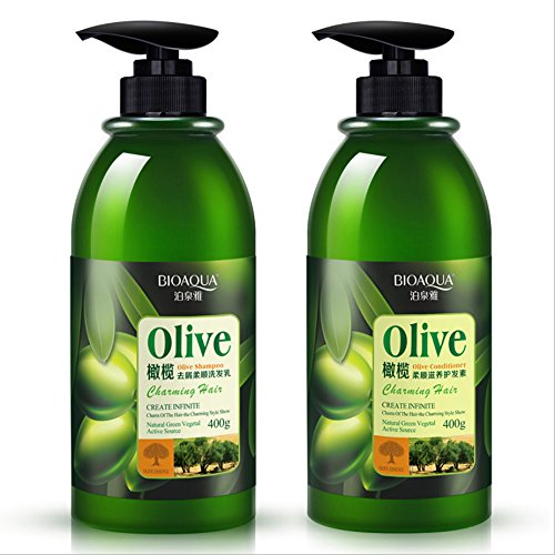 BIOAQUA Olive Shampoo & Contitioner Moisturizing Deep Repair All Nourishes Hair Natural Extract Clean Glossy Shine 400ml (2 in 1 Shampoo & Conditioner)