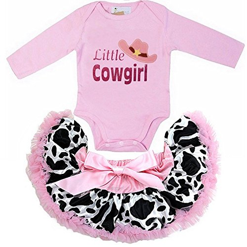 Kirei Sui Baby Pink Cow Printed Pettiskirt Little Cowgirl Pink Long Sleeve Bodysuit Small (Baby Cowgirl Outfits)