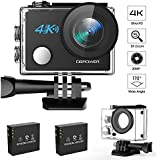 DBPOWER N5 4K Action Camera, 5X Zoom HD action cam 20MP Sony Sensor Sports Camera, EIS Wi-Fi 98FT Underwater Camera with 170° Wide-Angle Lens Including 2 Rechargeable Batteries and 17 Accessories Kit