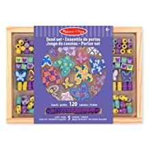 Melissa & Doug Butterfly Friends Wooden Bead Set With 120 Beads for Jewelry-Making