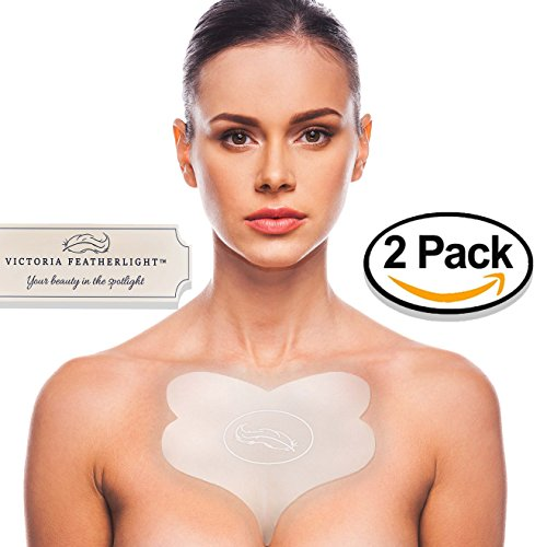 (2 Pads) Victoria Featherlight - Chest Pads For Decollete, Chest Wrinkles Prevention, Silicone Wrinkle Pad (The original design, clear color instead of ()