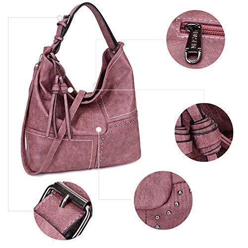 Coffee 3 Casual Designer Tote Hobo Patchwork Shoulder Tones Handbag Bag Vintage Womens Bag Soft qCOYTT