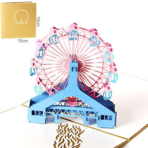 3D Pop Up Card -Small Bridge Lover Kirigami Papercraft Anniversary Baby Birthday Easter Halloween Mother's Day New Home New Year's Thanksgiving Valentine's Day Wedding Christmas Card ,Tuscom (#1) -