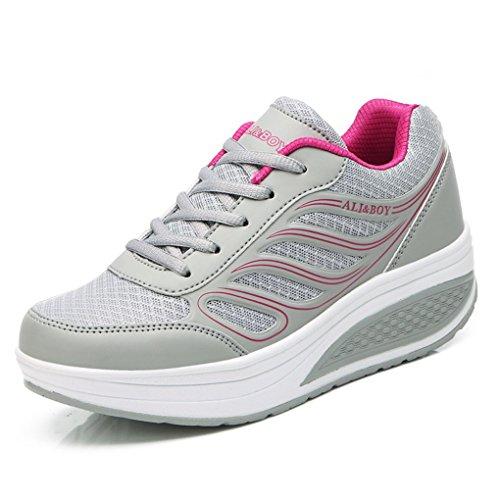 Cyber respirant En Plein Air Décontracté Femmes Sportives Chaussures De Marche Sport En Cours Dexécution Coin Chaussures De Tennis Gris