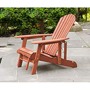Amazon Com Leisure Season Adirondack Chair With Attached