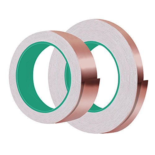 Copper Foil Tape 2 Pack (1 Inch x 15 Yards & 1/4 Inch x 40 Yards) Conductive Adhesive for Guitar and EMI Shielding, Slug Repellent, Electrical Repairs, Paper Circuits, Thicker, Stronger, Longer (Electronic Copper)