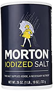 MORTON Iodized Salt, Supplies Iodide, Table Salt, Great for Baking, Cooking and Arts & Crafts, Pantry Essential, 26 Ounce