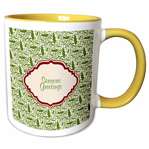 2 Tone Cartouche (3dRose Russ Billington Christmas Designs - Seasons Greetings Design in Maroon Cartouche over Holly Background - 11oz Two-Tone Yellow Mug (mug_220787_8))