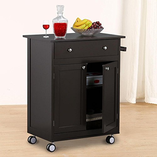 Topeakmart 26.8 x 17.7 x 33.9 inch Kitchen Trolley With Drawers