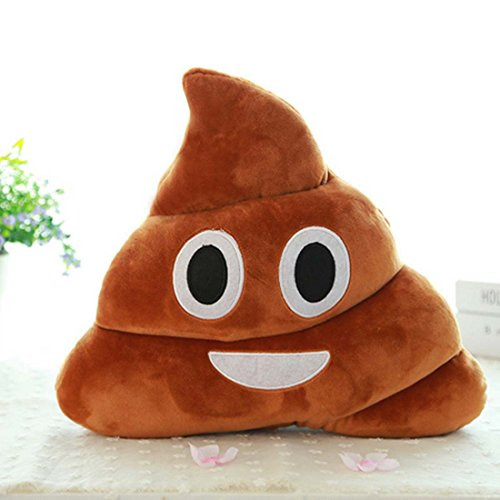 LKE Mini Stuffed Pillow Cushion Emoji Poop Shaped Smiley Face Doll Toy (Poop Shapes Toy)