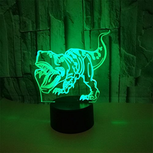 RUIYI 3D Optical Illusion Night Lamp Tyrannosaurus Visual Lmaps,Dinosaur 7 Color Change Lamp Base Birthday Gift Child Kid Home Decoration by RUIYI (Image #5)