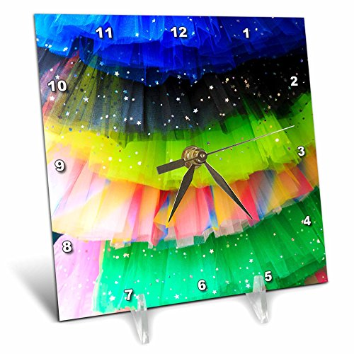 3dRose Danita Delimont - Objects - Spain, Balearic Islands, Mallorca. Rainbow of colors on netted skirts. - 6x6 Desk Clock (dc_277902_1) by 3dRose