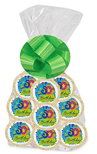 Happy 50th Birthday Star 24Pack Freshly Baked Individually Wrapped Party Favor Sugar Cookies