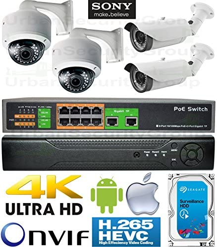 USG 4 Camera Security System PoE IP CCTV Kit 4X 2MP 2.8-12mm Vari-Focal Lens Bullet Dome Cameras 1x 5MP Ultra 4K H.265 NVR 1x 10 Port PoE Network Switch 1x 4TB HD View On Phone