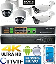 USG 4 Camera Security System : PoE IP CCTV Kit: 4x 2MP 2.8-12mm Vari-Focal Lens Bullet & Dome Cameras + 1x 5MP Ultra 4K H.265 NVR + 1x 10 Port PoE Network Switch + 1x 4TB HD : View On Phone