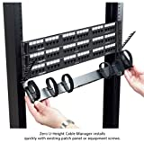 Black Box Horizontal Rackmount IT Cable Manager 0U, 19'', Single-Sided Black