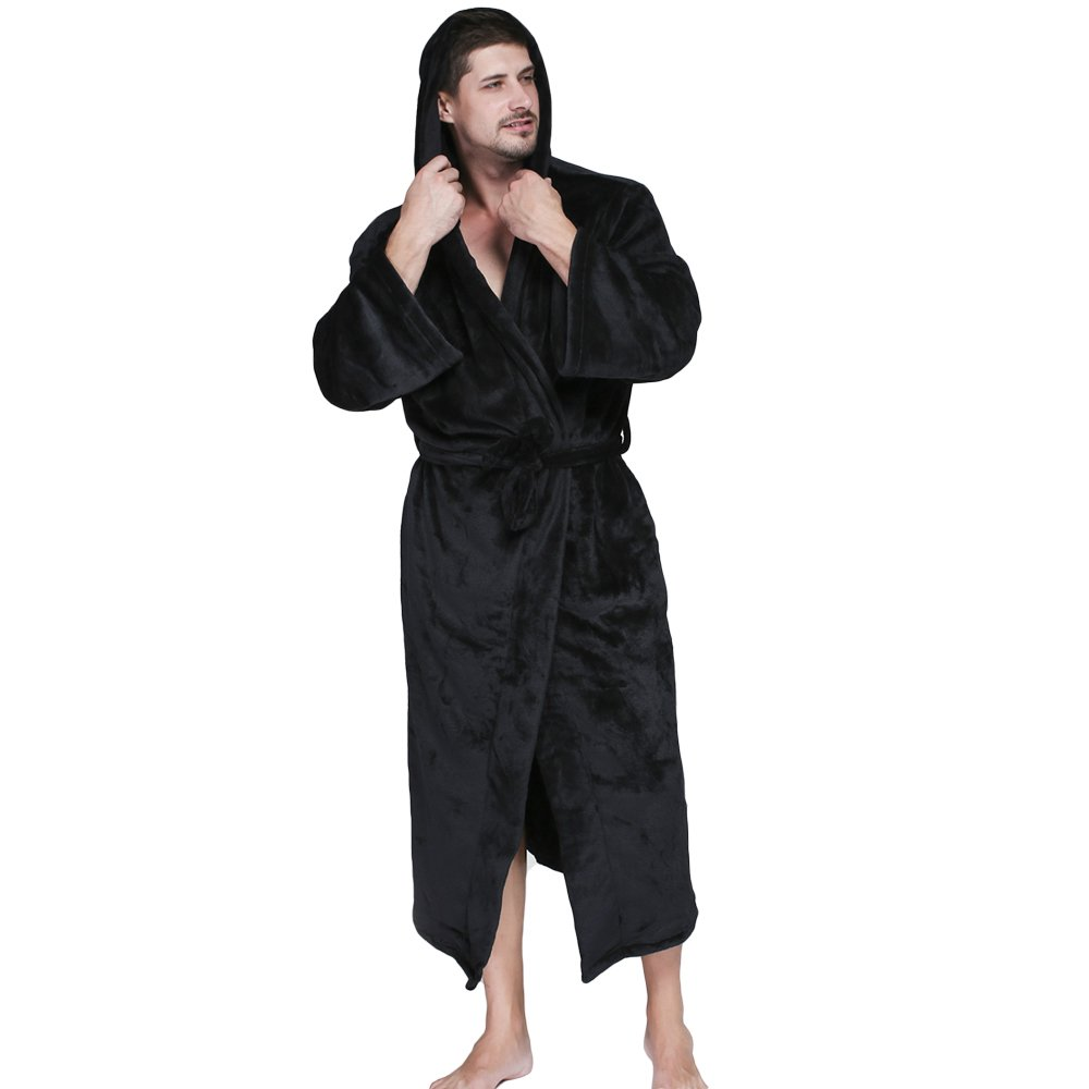 WEEN CHARM Mens Flannel Hooded Robe - Plush Shawl Kimono Bathrobe