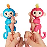 Fingerlings Interactive Baby Monkeys 2 Pack- Bella (Pink with Yellow Hair)& Boris (Blue with Orange Hair)