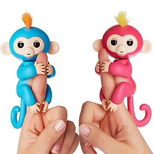 Fingerlings Interactive Baby Monkeys 2 Pack  Bella  Pink With Yellow Hair   Boris  Blue With Orange Hair