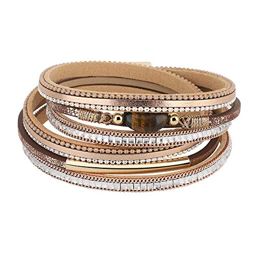 Emibele Layered Leather Bracelet, Bohemian Style Multilayer Wrap Bracelet with Metal & Diamond & Tiger's Eye Stone for Women Girls Ladies - Champagne