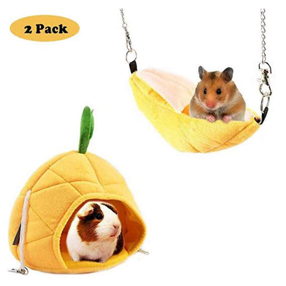 Hotumn Hammock Banana & Pineapple Nest Small Pet Bed Cage for Hamster, Guinea Pigs Supplies Indoor Sleep Beds, 2 Pack (Yellow) by Hotumn