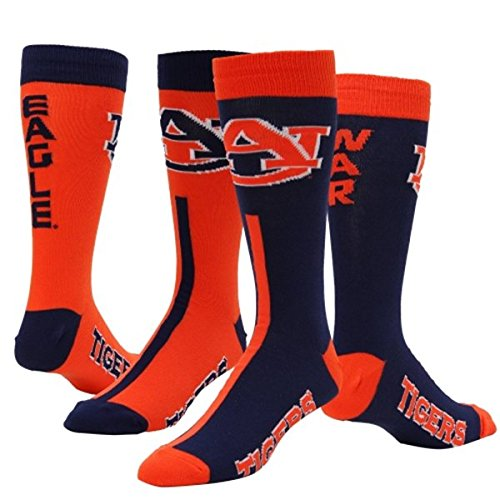 Auburn Tigers Big Top MisMatch Crew Socks Size Medium 5-10 - For Bare Feet