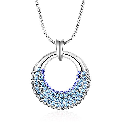 Winter's Secret Sea Blue Like Moon Shape Circle Pendant Diamond Accented 18K Silver Crystal Women Necklace