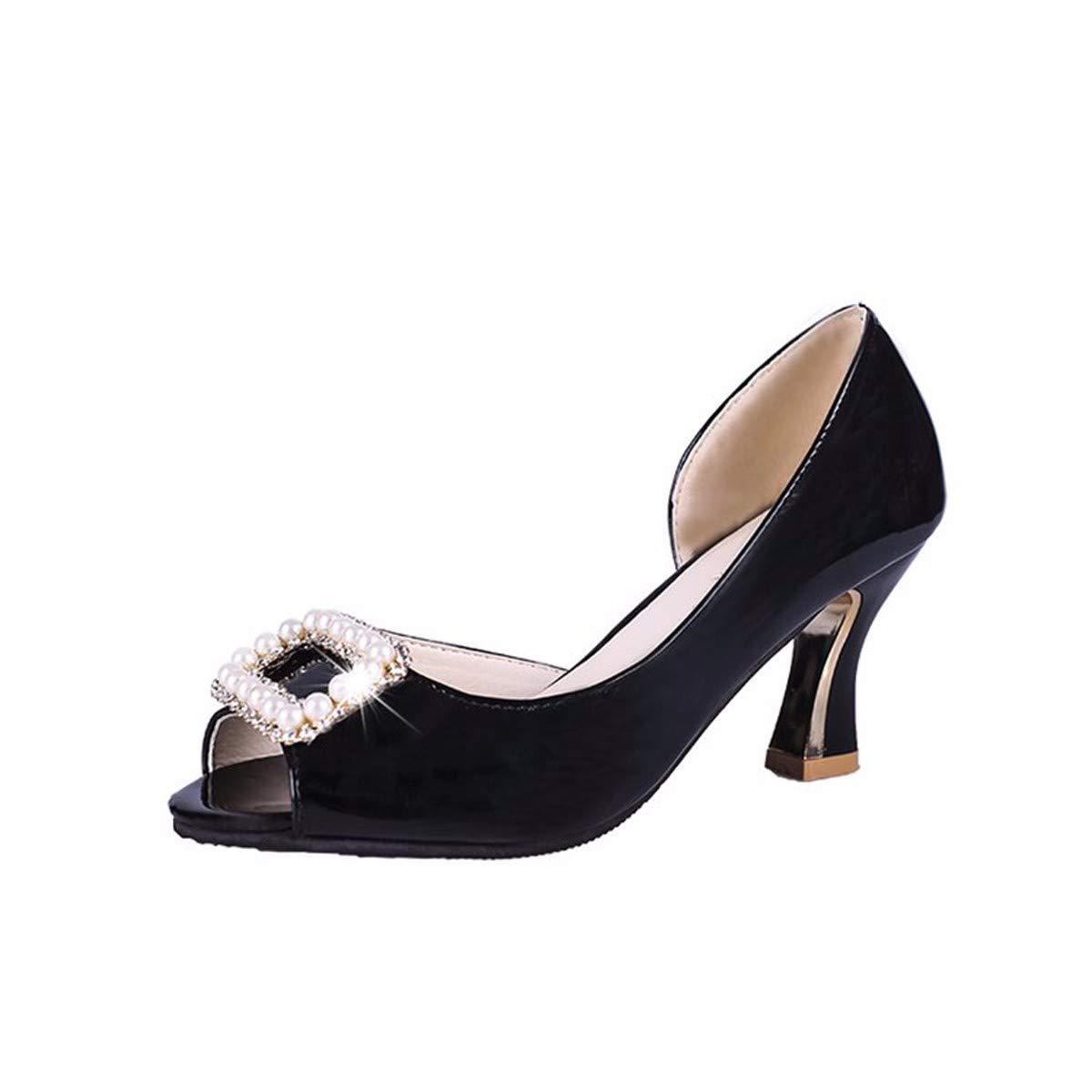 GTVERNH Damenschuhe/Mode/Sommer - Ferse und Fisch Mund Schuhe Pearl Wasser Bohren Flachen Mund Komfortable Damenschuhe.