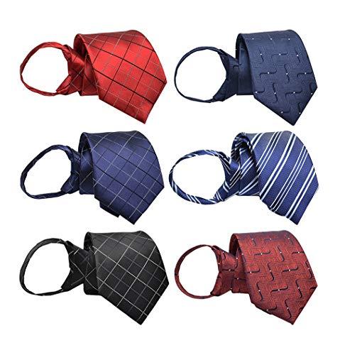 BESMODZ Mens 6PCS Zipper Ties Pretied Wedding Formal Necktie Stripe Neck Tie Set