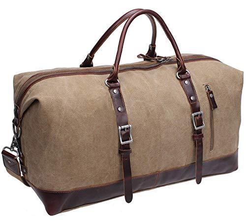 - Iblue Weekender Gym Totes Vintage Canvas Leather Sports Duffel Bag T09 (khaki)