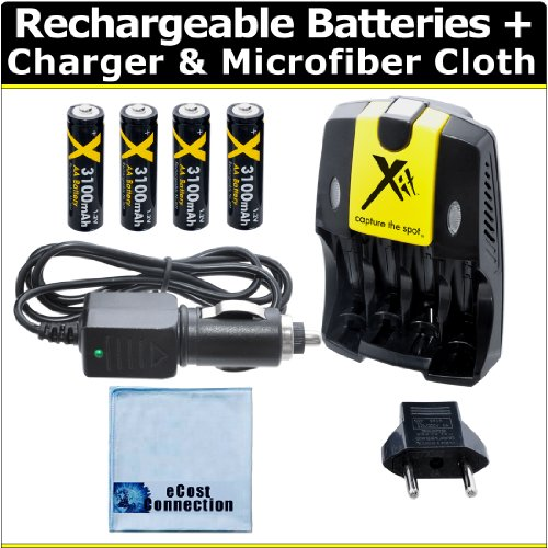 - (4) Rechargeable AA Batteries with AC/DC Car/Home Charger for AA/AAA Batteries f/ Fujifilm FinePix AX650, AX660, AXS2950, S2950, S4000, S4200, S4500, S4800, S6800, S8600, S9200, S9400, HS20EXR &More + Microfiber Cloth