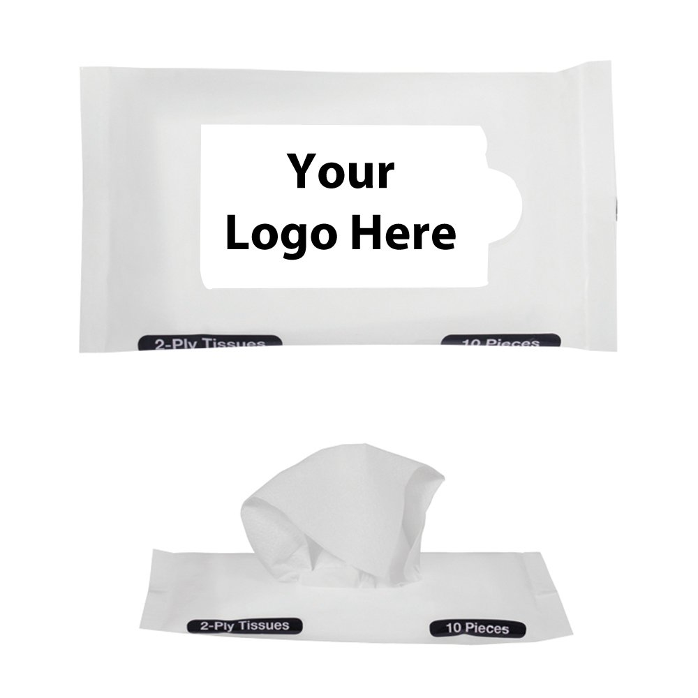 Pocket With Travel Facial Tissues - 250 Quantity - $1.10 Each - PROMOTIONAL PRODUCT / BULK / BRANDED with YOUR LOGO / CUSTOMIZED