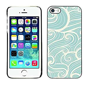 Plastic Shell Protective Case Cover || Apple iPhone 5 / 5S || Surf Blue White Vintage @XPTECH