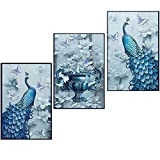 5D Diamond Painting kit full drill diy crafts paint with diamonds set mosaic Art Pictures 3d round crystal peacock flowers butterflies counted Embroidery wall sticker for Home Décor 50 1/5 '' x 23 3/5