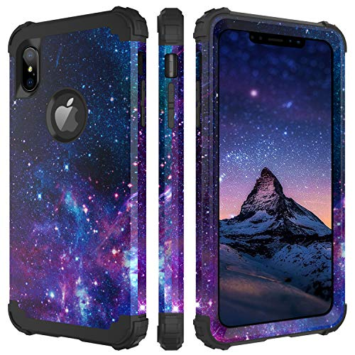 BENTOBEN Compatible with Phone Case iPhone XS Max, Full Body Heavy Duty Shockproof Drop Protection 3 in 1 Hybrid Hard PC Soft Silicone Anti-Slip Protective Case for iPhoneXS Max 6.5'' 2018, Blue S
