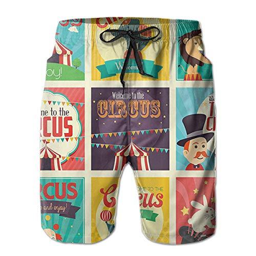 Bilybily Magicians Old Fashioned Nostalgic Festive, Mens Swim Trunks Quick Dry Board Shorts with Pockets Summer Beach -