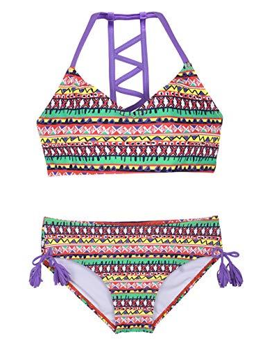 Firpearl Girls Swimsuits Halter Bikini Two Piece Bathing Suit Kids Bikini L Colorful Stripe