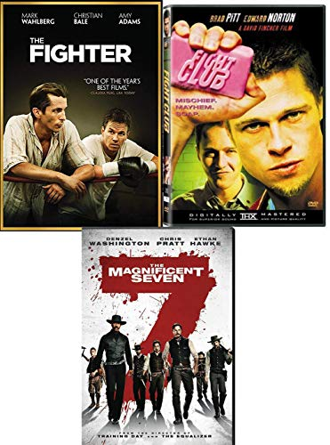 Men Sweat Fighting Boxing Riding The Fighter & Fight Club + Western 2016 Magnificent Seven Denzel Washington DVD Movie Action Triple Pack